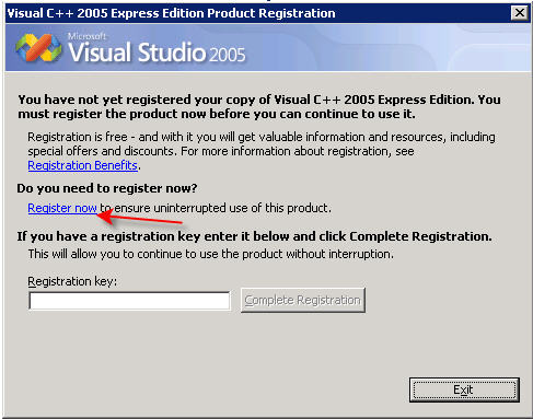 vc++ 2010 express registration key